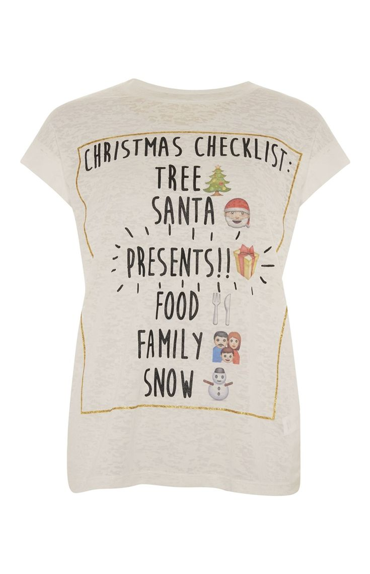 Primark - T-shirt met checklist voor kerst