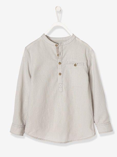 b041f9e3bb282 Chemise garçon col mao lin et coton - Blanc+Gris clair - 6