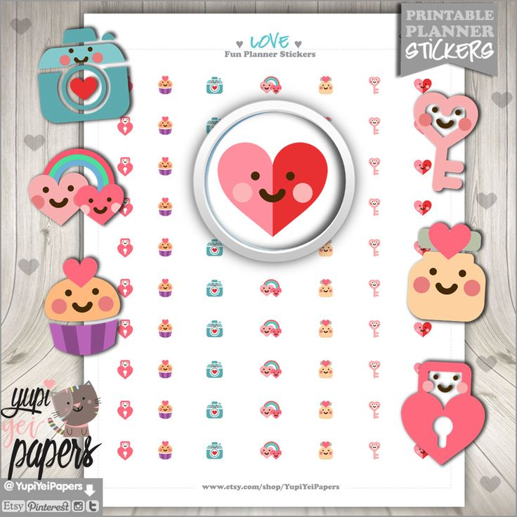 50%OFF - Valentines Day Stickers, Printable Planner Stickers, Love Stickers, Heart Stickers, Planner Accessories, Aniversary Stickers