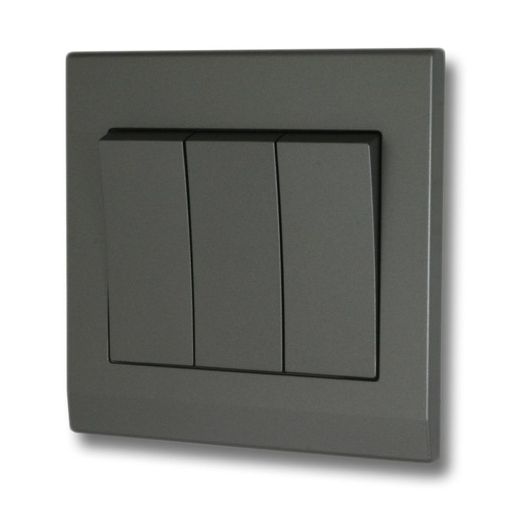 This is a 3 gang Mid Grey 2-Way Switch on a high quality, durable plastic screwless plate. With a sleek, modern design, these plates are the ideal choice for a contemporary home. The clip on cover hides the industrial looking screws from view for a crisp sophisticated minimal look.