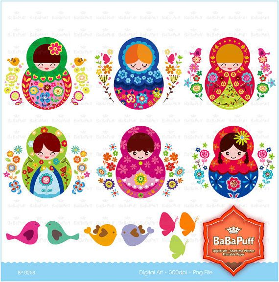 Printable Matryoshka Dolls Personal and Small by BaBaPuff on Etsy, $5.00