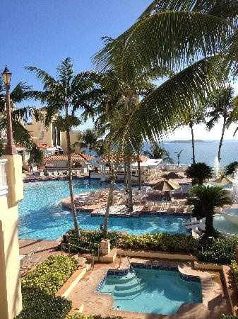 View of main pool complex at El Conquistador Resort, Puerto Rico from the arrival plaza.