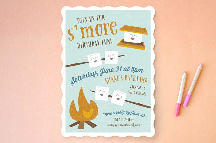 S'More Fun Children's Birthday Party Invitations by Chelsey Scott at minted.com