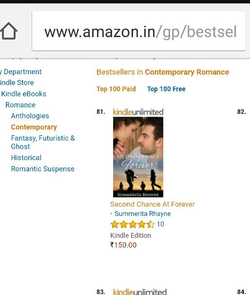 #SecondChanceAtForever #romance #novel is  in #top100paid in #contemporaryromance #bestsellers at Amazon .in Check out this sensual and emotional second chance story at: Amazon.in https://www.amazon.in/dp/B06XS6XZ7J  Amazon.com https://www.amazon.com/dp/B06XS6XZ7J