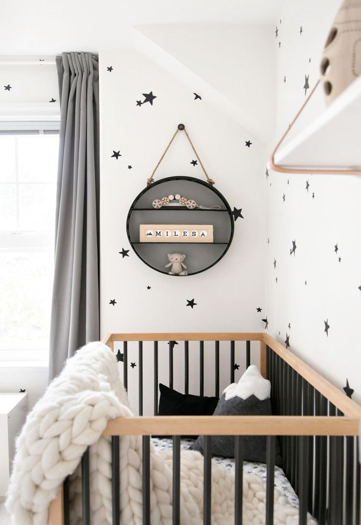 stars on the wall easy baby room deco ideas in black and white with