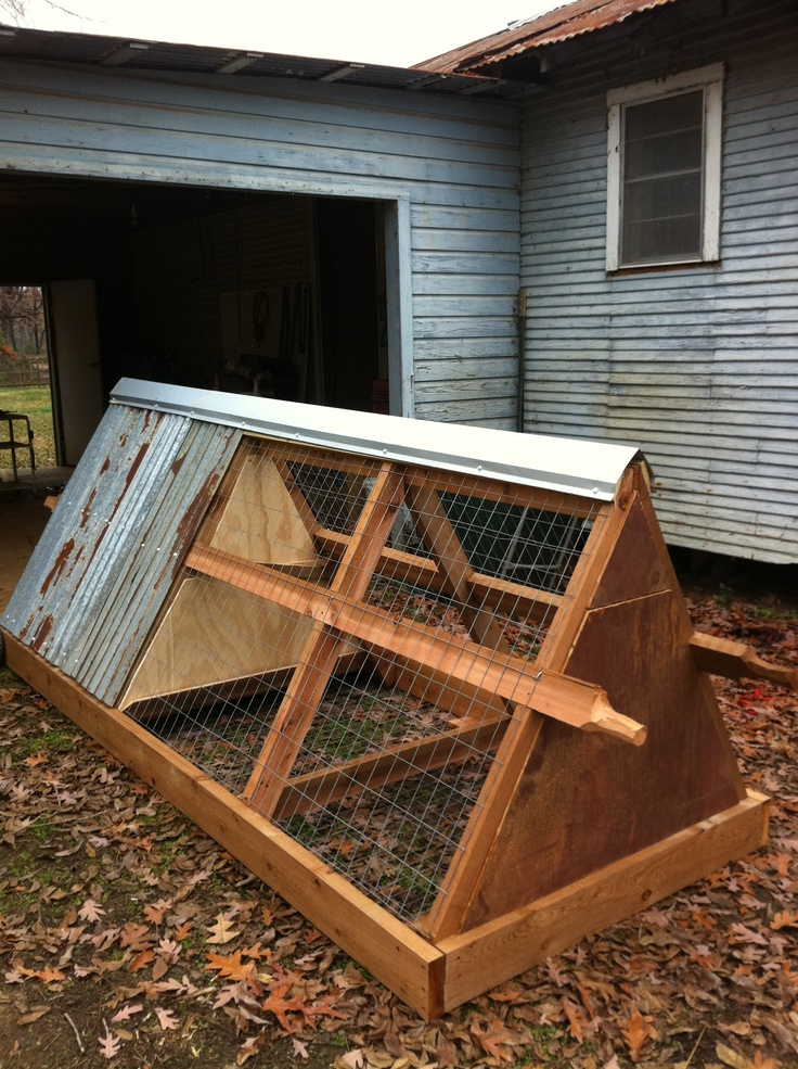 Chicken Tractor (Portable Chicken Coop)  I got the Idea and initial plans from a magazine article.  A copy of which I cannot find in order to give credit where due.
