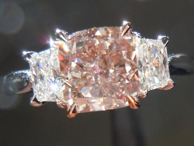 Pink Diamond Ring 1.44 Fancy Light Pinkish Brown Cushion GIA Trapezoidal Side Stones #pink & 62 best Natural Pink Diamond Rings images on Pinterest | Pink ... azcodes.com