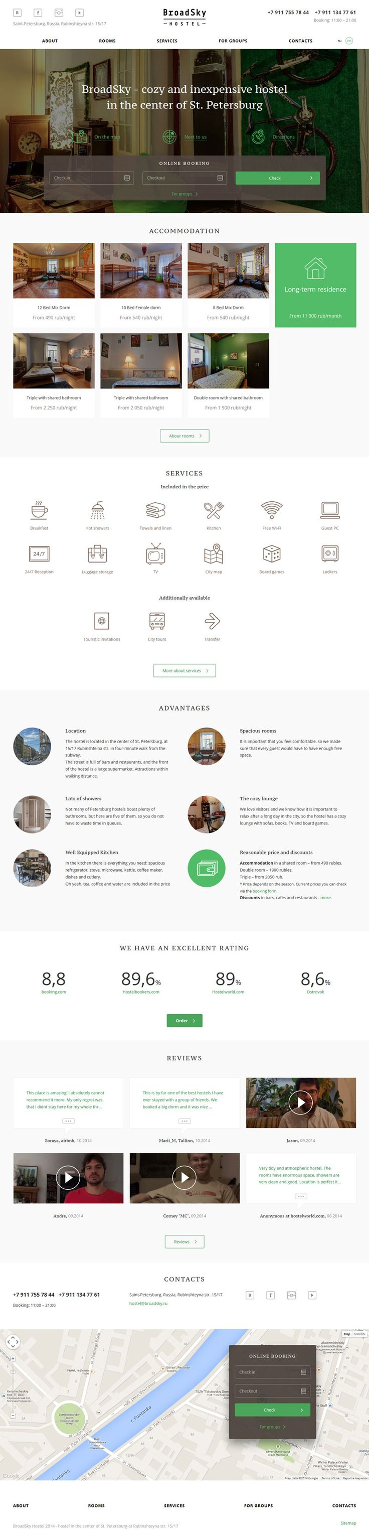 Flat Design Website; Example; Category: Inspiration; Name Site: BroadSky; Type Website: Hostel; Bold; Color: Green; Line Icons.