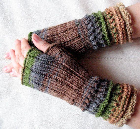 SALE Fingerless Gloves Brown Beige Gray Green wrist by Initasworks