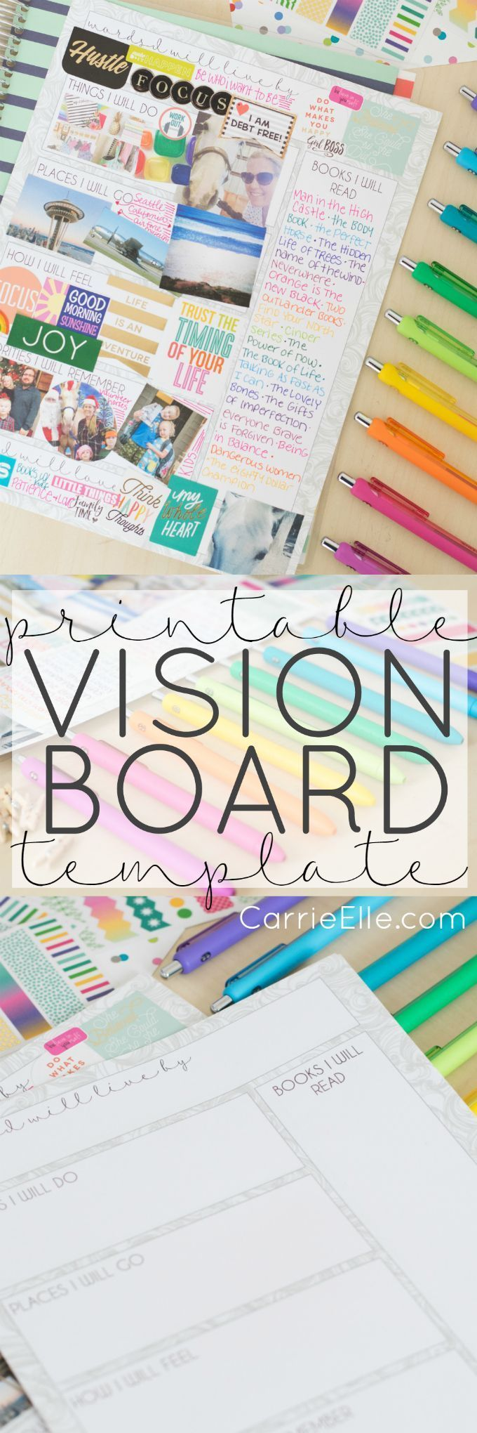 Printable Vision Board Template - print out this fun template and create a vision board you'll love to look at! #StreamTeam