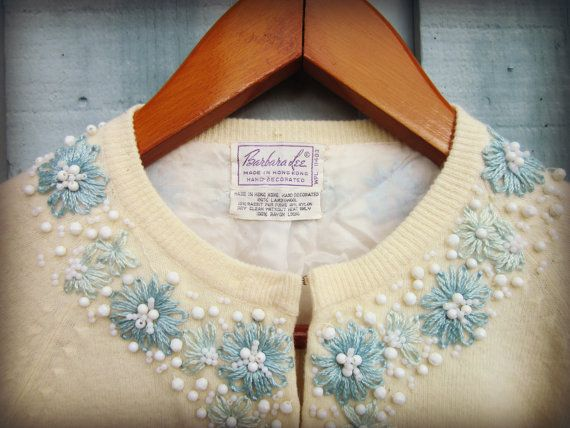 XL Vintage Embroidered Beaded Cardigan Sweater// by emmevielle, $54.00