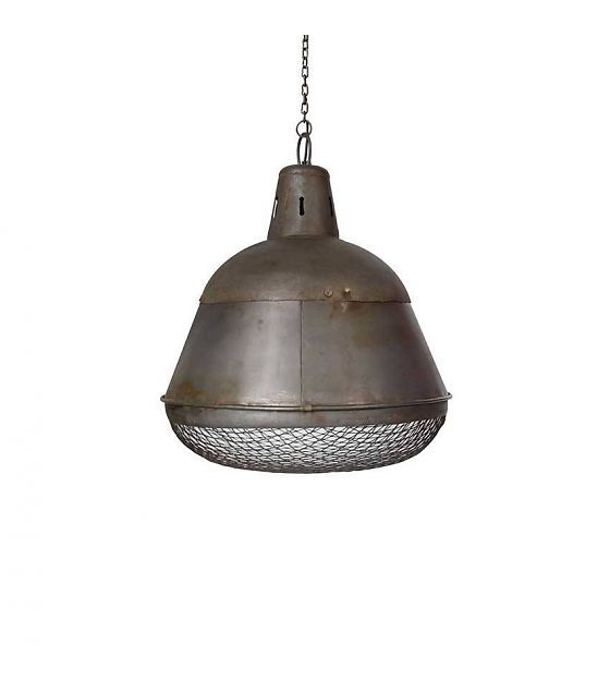 LEF collections Industrielamp Gaas zilver metaal 35x35x42cm - wonenmetlef.nl