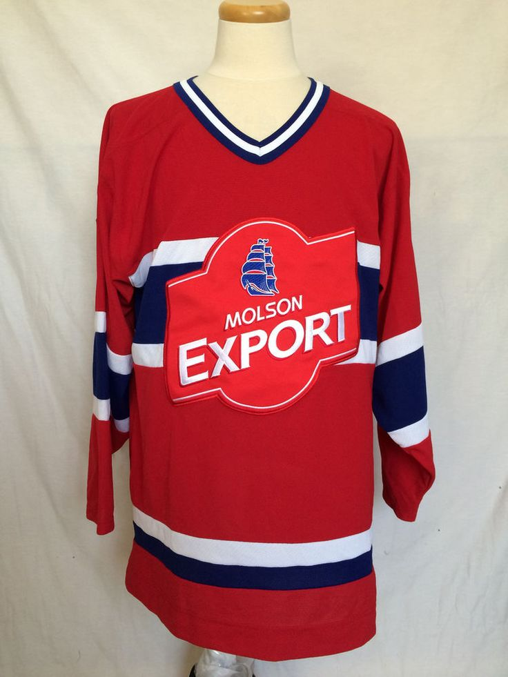 Molson Export Mens Hockey Jersey Sz Large Red White Blue Beer #MolsonExport