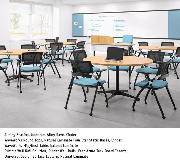 National Office Furniture   WaveWorks Tables, JIminy Side/guest Seating In  Training Room Area