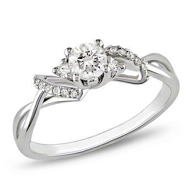3/8 CT. T.W. Diamond Bow Engagement Ring in 10K White Gold
