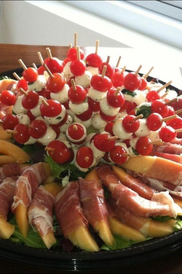 Antipasto ... Melon W/prosciutto, fresh mozzarella, tomatoes .... Fingerfood # partyfood rhs