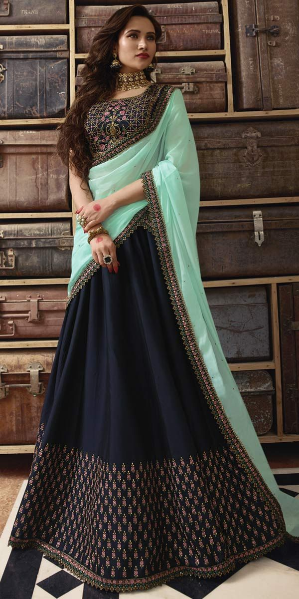 a395f246fc Navy Blue Art Silk Designer Lehenga Choli.This Bridal Lehenga Choli has  trendy Embroidery Work, lace work and matching dupatta which gives you  gorgeous look ...