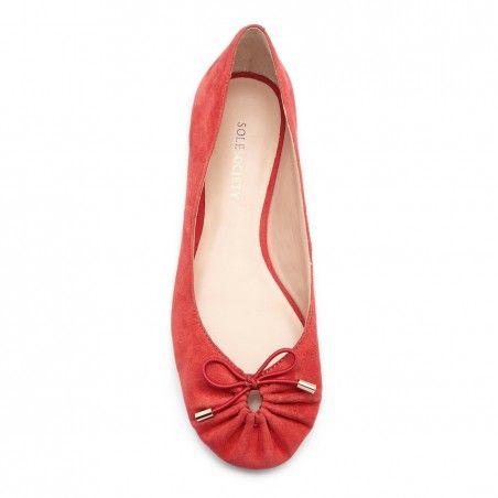 Women's Aruba Red Suede 1/4 Inch Suede #Ballet Flat