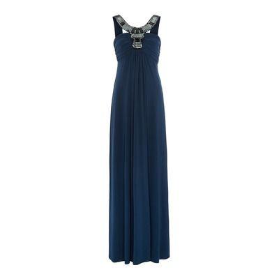 Biba Deco Collar Bandeau Maxi Dress, Blue