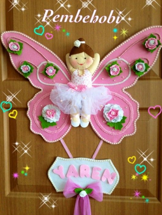 Kelebek balerinli kız bebek kapı süsü – 10marifet.org