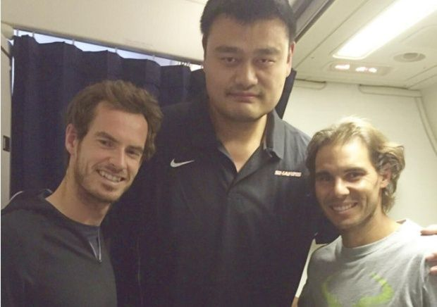 Rafa, Andy Murray and Yao Ming were captured together on flight home from Shanghai (Oct 2015) Instagram. (@andymurray)