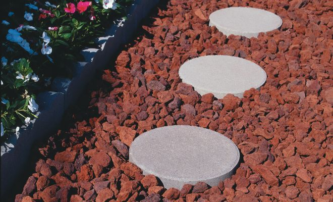 Red Landscaping Stone : Red rock landscaping front porch lava with