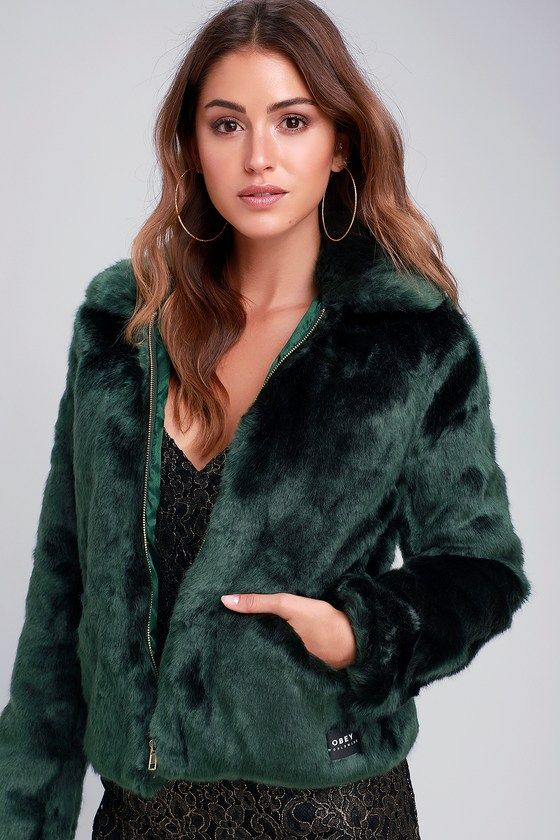 4726ff56818 Kale Forest Green Faux Fur Bomber Jacket | My Style | Fur bomber, Bomber  jacket, Jackets