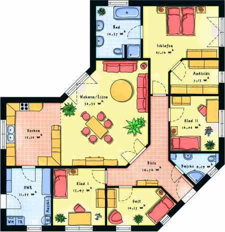 Fertighaus Bungalows & Winkelbungalows Hausansicht: Grundriss 1