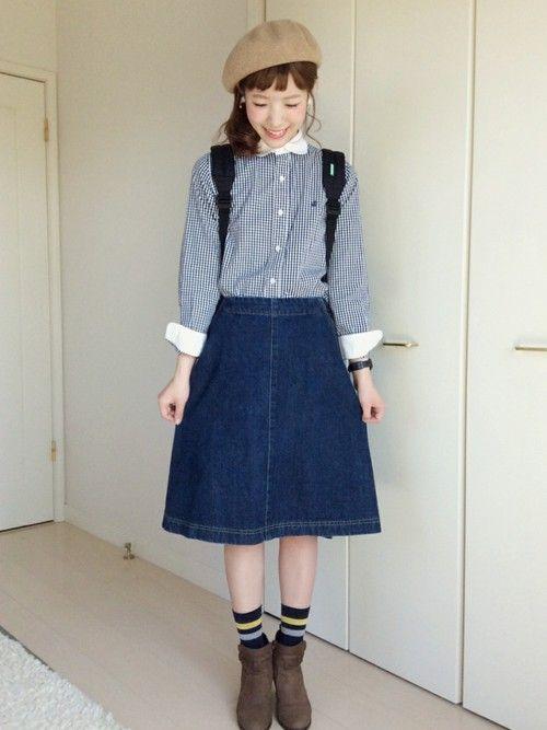 シャツ: BEAMS BOY・ スカート: fig london・ ブーツ: DIANA・ ソックス: Ray BEAMS・ ベレー: マルイセール #gingham #spring #style #outfits