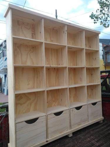 astilla muebles: biblioteca de pino con cajones