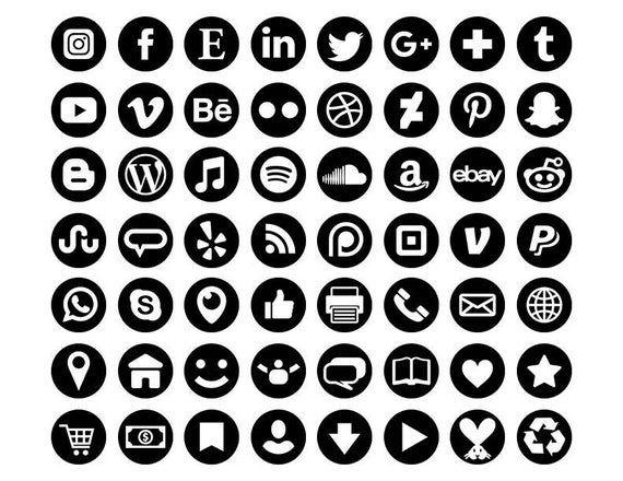 Black Social Media Icons Set Png Svg Vector Transparent Etsy In 2021 Black Social Media Icons Social Media Icons Media Icon