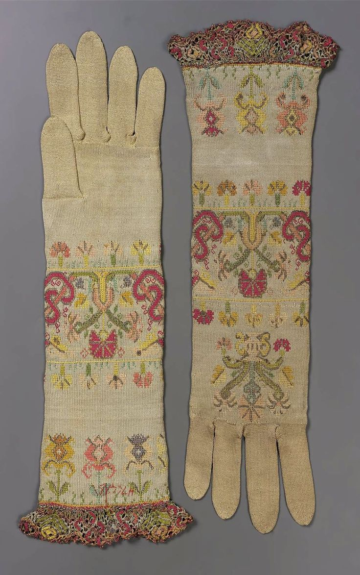 Ogilvies designs christmas aprons gloves amp tea towels - 1650 1700 Italy Pair Of Women S Silk Knitted Gloves