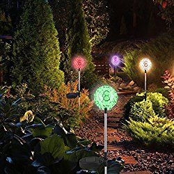 Solar Garden Lights Stakes, 4 Pack Beinhome Stake Garden Solar Lights LED Outdoor Patio Yard Fairy Pathway lights with 7 Auto Color Changing, Solar Security Lights for Holiday Decor