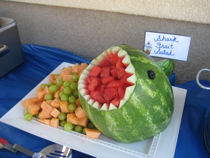 """Shark Fruit Salad"".....this was a huge hit!  it took about 20 minutes to carve the shark.  I just googled ""shark watermelon"" and a video popped up.  Super easy and user friendly!"