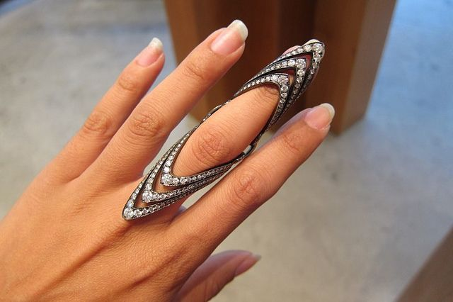What?? Give it!! Triple V Knuckle ring by Julia Cohen, available at Broken English. @Mecamesly Brake