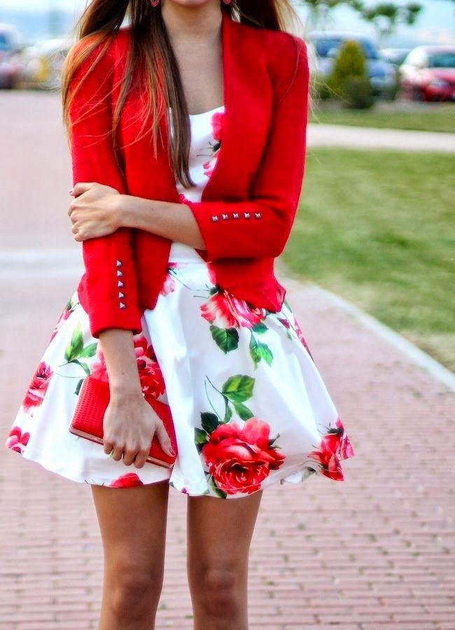 Floral dress with red blazer and purse. Maybe not the print/colors so much as the shape/cut of the two mixed together