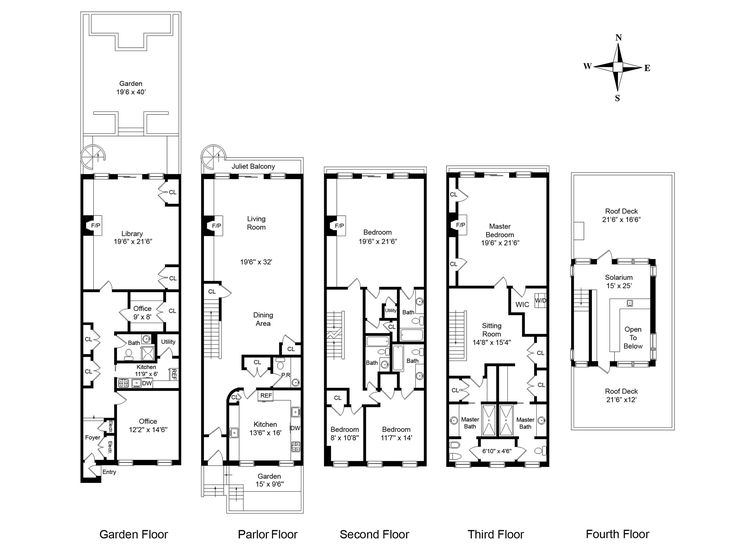8 best brownstone floorplans images on pinterest 3 4 for Brownstone house plans