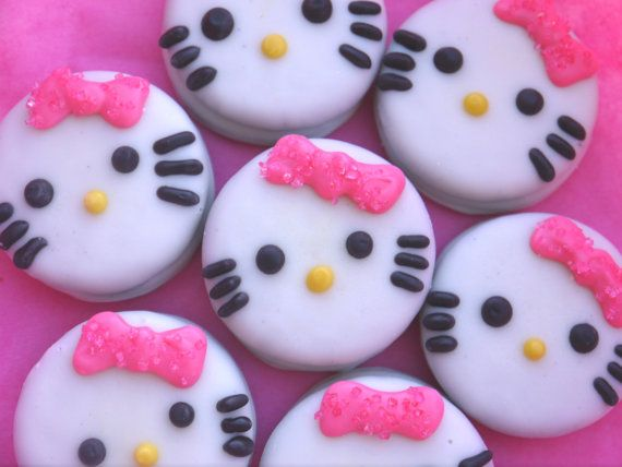 Items similar to 12 Hello Kitty Inspired Chocolate Covered Oreo Cookie Favors Edible Hello Kitty Birthday Party Treats Hello Kitty Cookies Pink Bow on Etsy