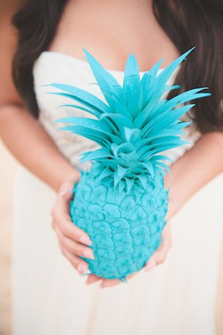 #DIY spray painted pineapple   Bit of Ivory Photography   see more on http://burnettsboards.com/2014/03/kuu-lei-colorful-tropical-bridal-session/
