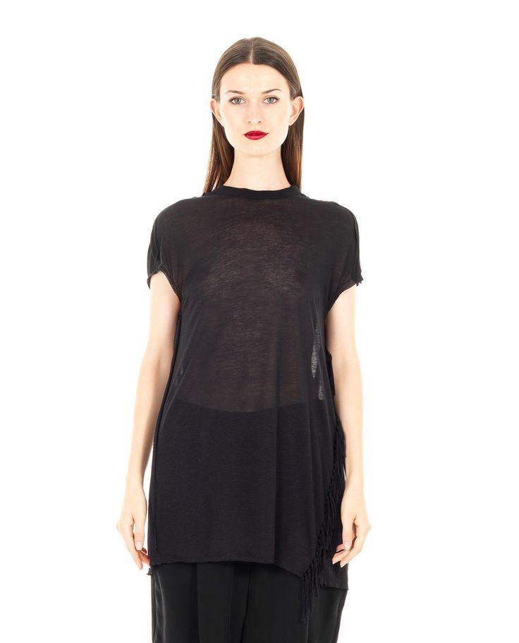 DAMIR DOMA OVERSIZED T-SHIRT WITH FRINGES S/S 2016 Black oversized T-shirt  crew-neck  short sleeves  side fringes transparent look 80% VI 10% SE 10% LI