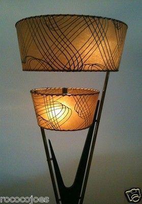 Vintage Mid-Century Modern Atomic Eames Era Majestic Lamp w Fiberglass Shades