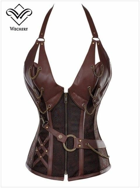 62ac95c028caf Wechery Vintage Women Corset Steampunk Overbust Bustiers Body Shapewear  Leather Bodice Plus Size Sexy leather Corselet Retro in 2018
