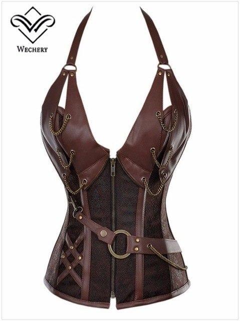 2f53d1c6cca Wechery Vintage Women Corset Steampunk Overbust Bustiers Body ...