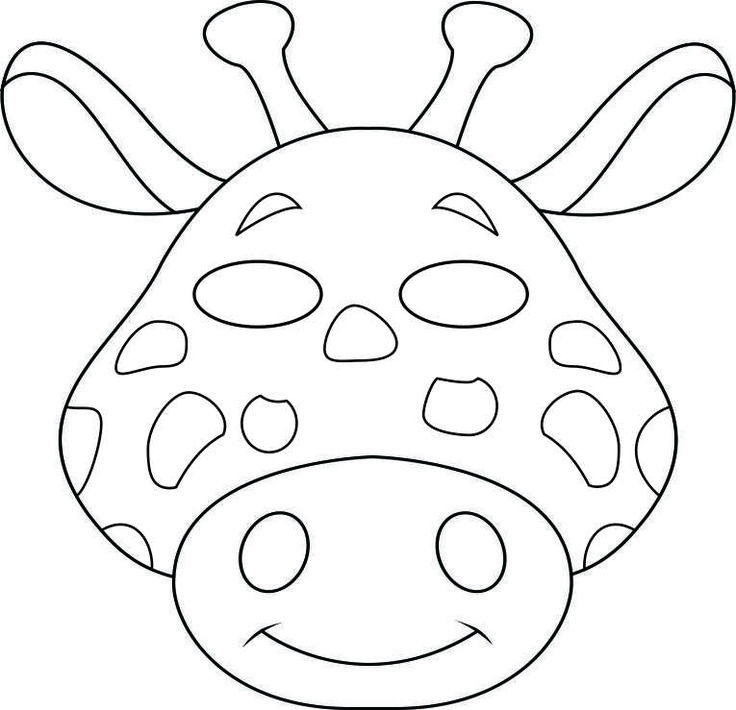 Safari Animal Cutouts | vbs-jungle-animal-mask-giraffe-bw