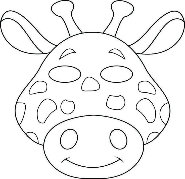Safari Animal Cutouts | vbs-jungle-animal-mask-giraffe-bw