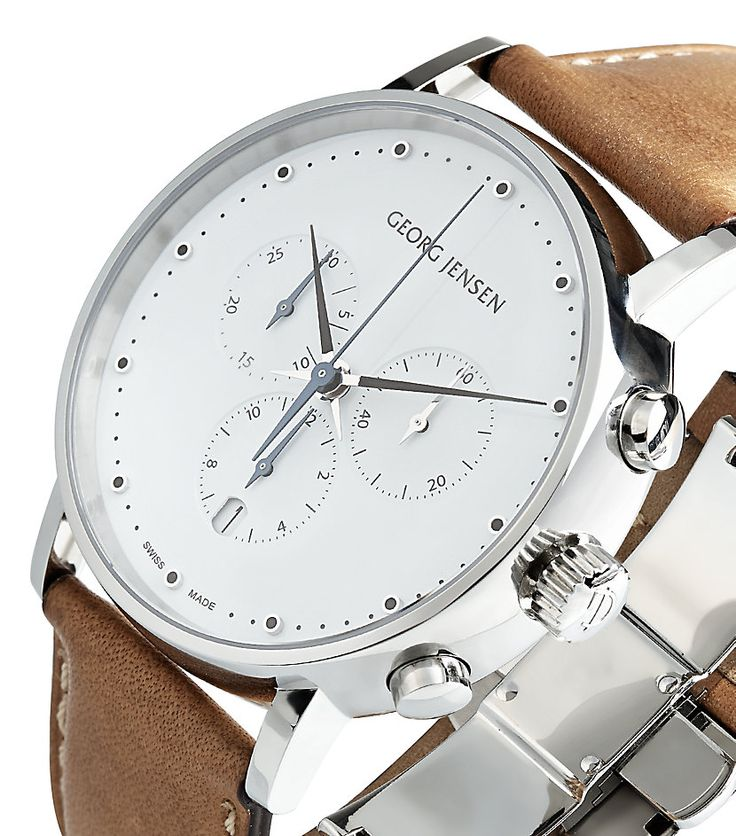 Georg Jensen Koppel Leather Watch | Harrods http://www.thesterlingsilver.com/product/bulova-automatic-mens-watch-with-brown-dial-analogue-display-and-brown-leather-strap-96a120/