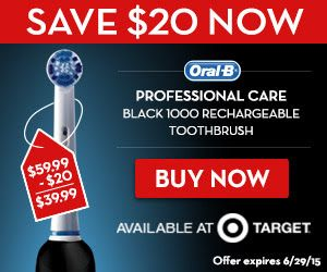 Power your Dad's smile this Father's Day with an Oral-B Professional Care Black 1000 rechargeable toothbrush from Target. You can  save $20! The Oral-B Professional Care Black 1000 toothbrush removes up to 100% more plaque.when compared to a regular manual toothbrush. This HOT deal is only available for a very limited time, so don't delay! The offer is valid through 6/29/15 at Target. http://ifreesamples.com/perfect-fathers-day-save-20-00-oral-b-toothbrush/
