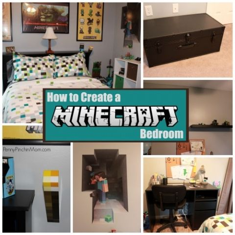 Are you kids wanting a Minecraft bedroom?  Here's how to create one (without going TOO over the top  -- so you can swap out accessories later when they change their mind).