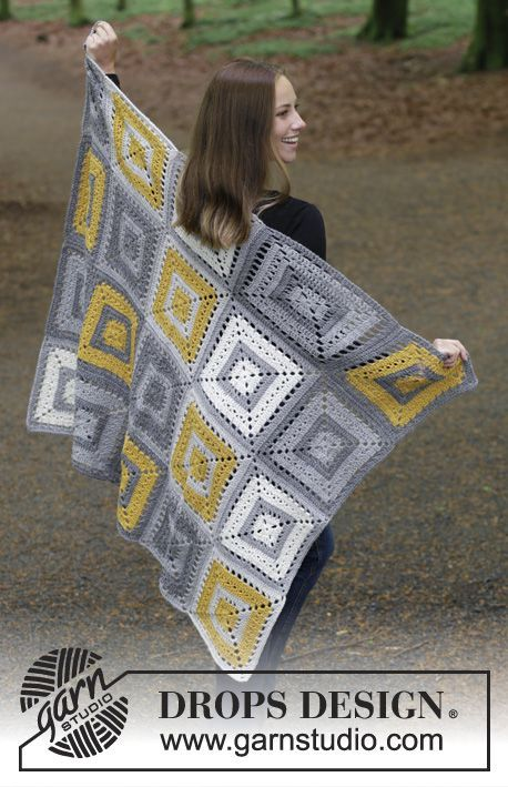 Tanguy Squares - Crochet blanket with crochet squares. The piece is worked in DROPS Nepal. Free crochet pattern DROPS 180-17
