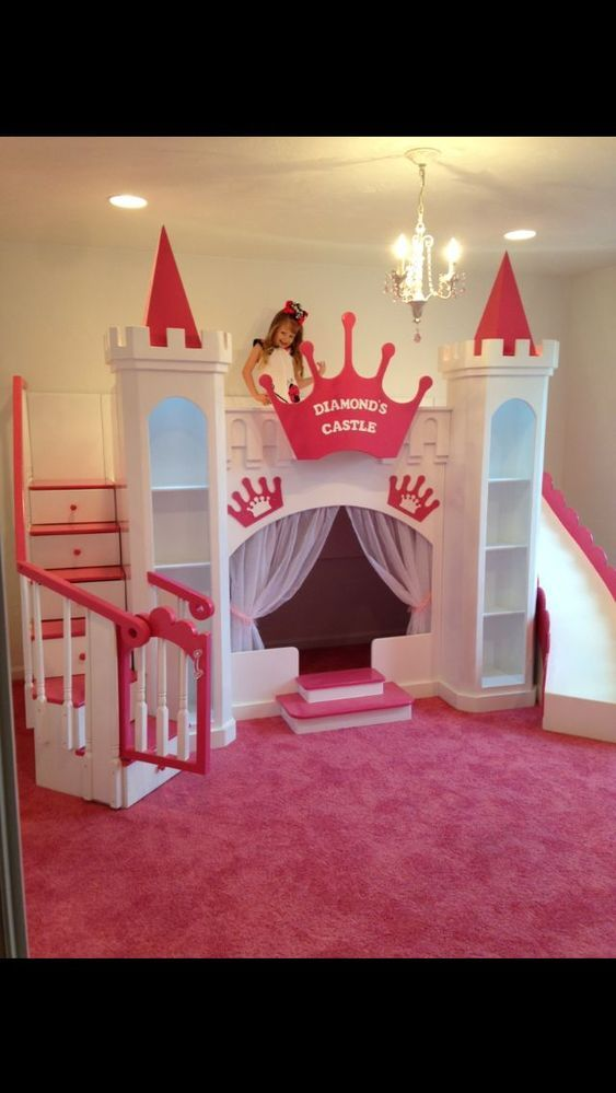 NEW DIAMOND'S CUSTOM PRINCESS CASTLE LOFT/BUNK/PLAYHOUSE BED  #CAROLINADREAMSCUSTOMDESIGNS